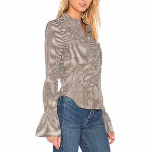 Frame Denim Striped Fitted Blouse